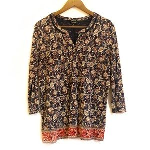 Lucky Brand Floral Boho Style Peasant Top M